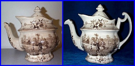 Brown transferware teapot