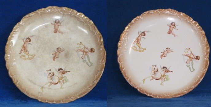 antique cherubs plate before and after