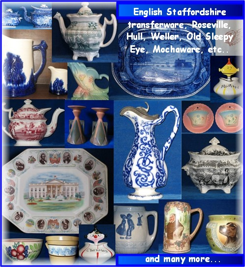 Restored Roseville, Weller, English Staffrdshire transferware, mochaware